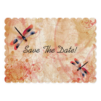 Red Watercolor Dragonflies Save The Date 13 Cm X 18 Cm Invitation Card