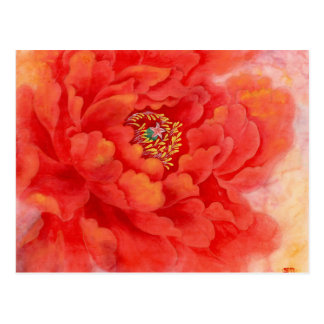Red watercolor flower postcard