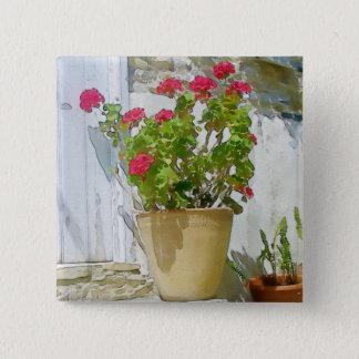 Red watercolor geranium 15 cm square badge