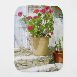 Red watercolor geranium burp cloth