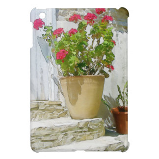Red watercolor geranium iPad mini cover
