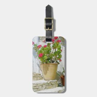 Red watercolor geranium luggage tag