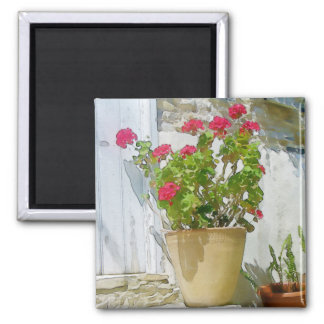 Red watercolor geranium magnet