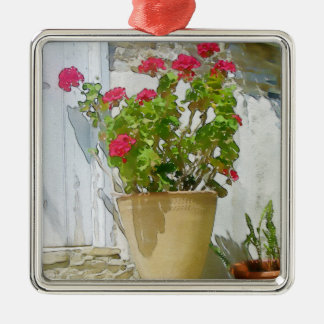 Red watercolor geranium metal ornament