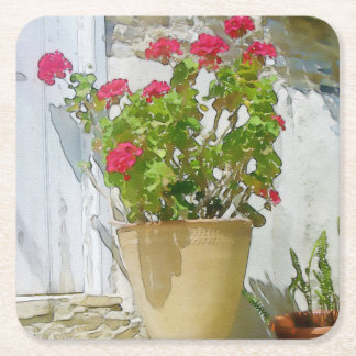 Red watercolor geranium square paper coaster