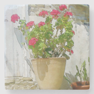 Red watercolor geranium stone coaster