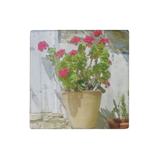 Red watercolor geranium stone magnet