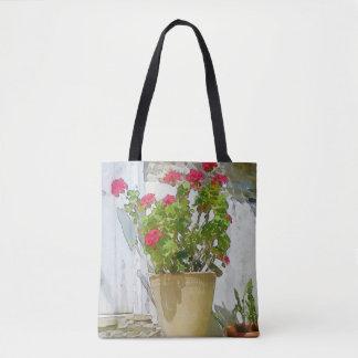 Red watercolor geranium tote bag