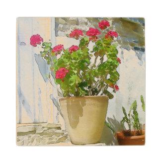 Red watercolor geranium wood coaster