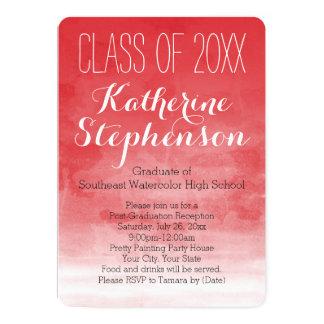 Red Watercolor Graduation Party Invitation