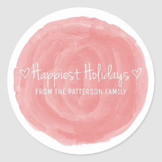 Red Watercolor Happiest Holidays Classic Round Sticker