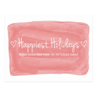 Red Watercolor Happiest Holidays Postcard