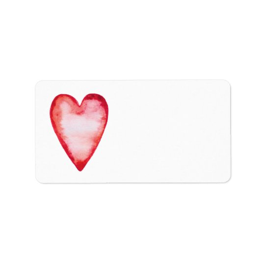 Red watercolor heart blank custom address label