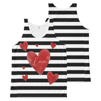 Red Watercolor Hearts & Stripes All-Over Print Singlet