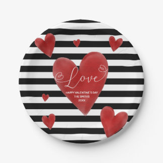 Red Watercolor Hearts & Stripes Paper Plate