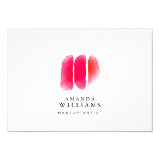 Red Watercolor Makeup Swatches Flat Notecard 13 Cm X 18 Cm Invitation Card