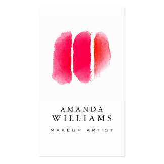Red Watercolor Makeup Swatches Makeup Artist Pack Of Standard Business Cards