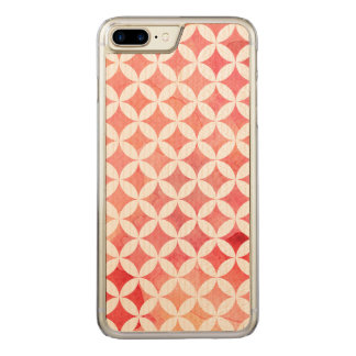 Red Watercolor Oriental Diamond Pattern Carved iPhone 7 Plus Case