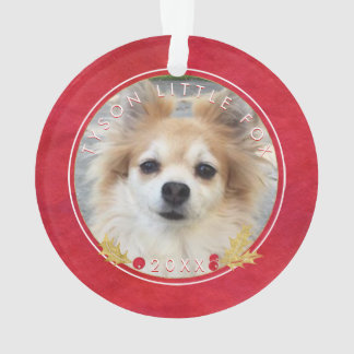 Red Watercolor PET PHOTO Merry Little Christmas Ornament
