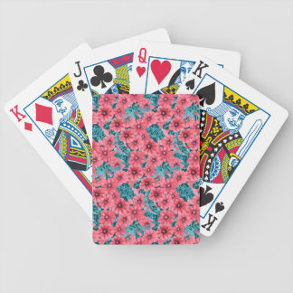 Red watercolor petunia flower pattern bicycle playing cards