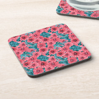 Red watercolor petunia flower pattern coaster