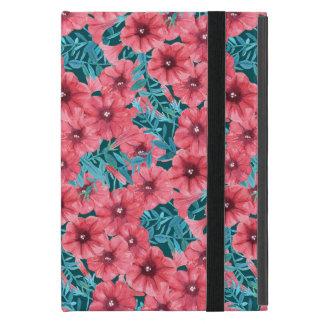Red watercolor petunia flower pattern iPad mini case