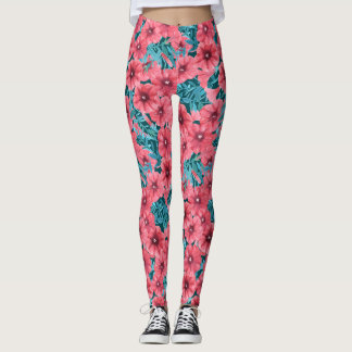 Red watercolor petunia flower pattern leggings
