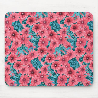 Red watercolor petunia flower pattern mouse pad