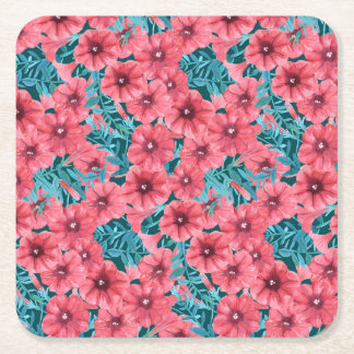 Red watercolor petunia flower pattern square paper coaster