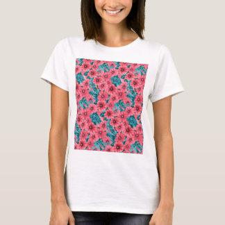 Red watercolor petunia flower pattern T-Shirt
