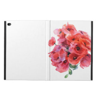 Red watercolor poppies case