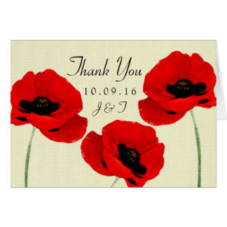 Red Watercolor Poppies Floral Wedding Collection Note Card