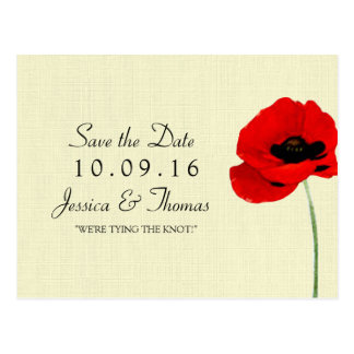 Red Watercolor Poppies Floral Wedding Collection Postcard
