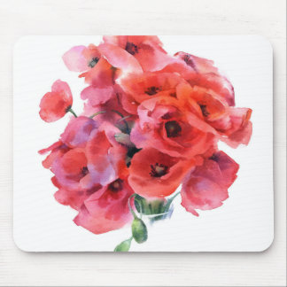 Red watercolor poppies mouse pad