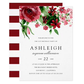 Red Watercolor Rose & Stripes | Birthday Party Card