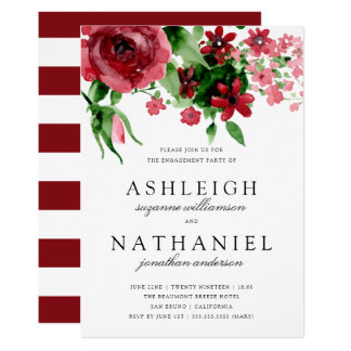 Red Watercolor Rose & Stripes | Engagement Party Card