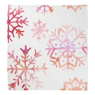 Red Watercolor Snowflakes Bandana