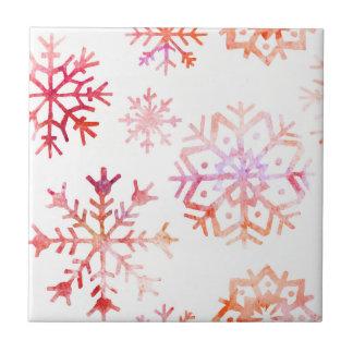 Red Watercolor Snowflakes Ceramic Tile