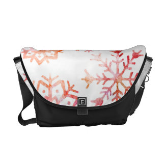 Red Watercolor Snowflakes Commuter Bag