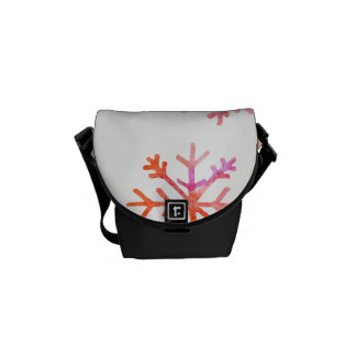 Red Watercolor Snowflakes Commuter Bags