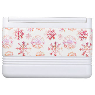 Red Watercolor Snowflakes Cooler