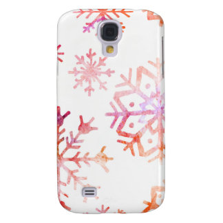Red Watercolor Snowflakes Galaxy S4 Cover