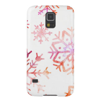 Red Watercolor Snowflakes Galaxy S5 Cover