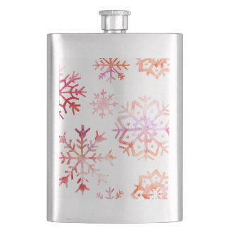 Red Watercolor Snowflakes Hip Flask
