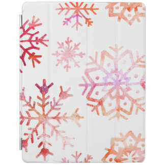Red Watercolor Snowflakes iPad Cover