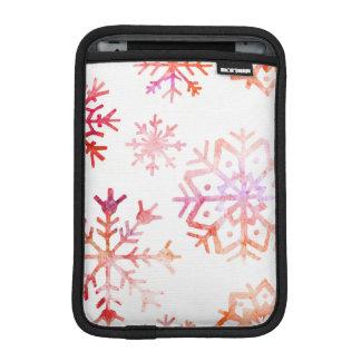 Red Watercolor Snowflakes iPad Mini Sleeve