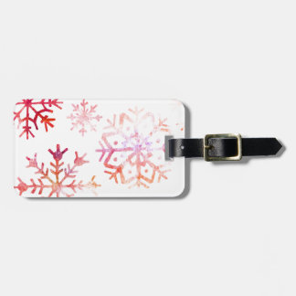 Red Watercolor Snowflakes Luggage Tag