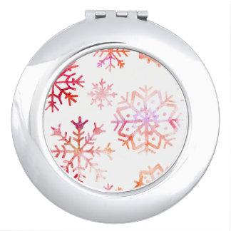 Red Watercolor Snowflakes Makeup Mirror