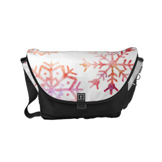 Red Watercolor Snowflakes Messenger Bag
