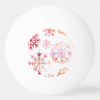 Red Watercolor Snowflakes Ping Pong Ball